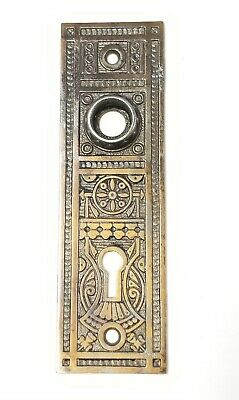 "B22 Antique Ornate Cast Iron Eastlake Back Plate Door Hardware 5 3/4"" x 1 3/4"""