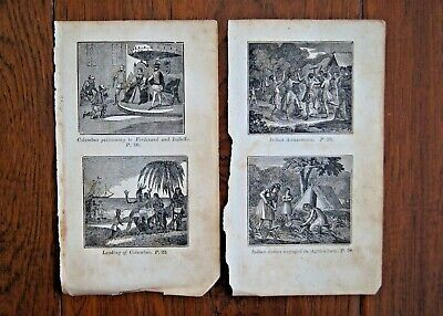 c.1800 Lot of Naive Americana Woodcuts - George Washington, Revolutionary War &c