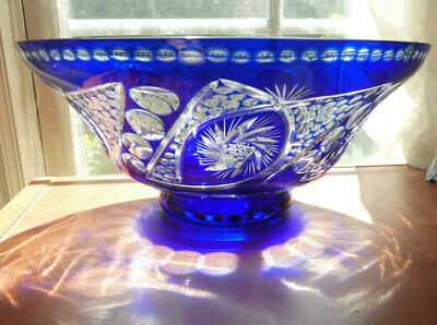 Vintage Large Cobalt Blue Crystal Cut to Clear   BOHEMIAN  ART GLASS BOWL