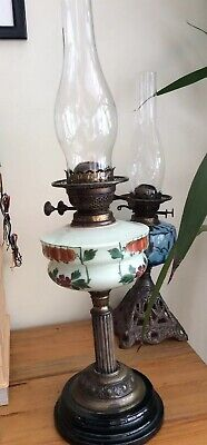 Antique Victorian Brass Oil Lamp With Decorated Font