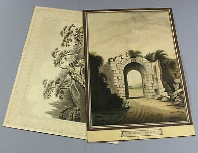 TWO original 19th century watercolours in style of engravings gate of paestum