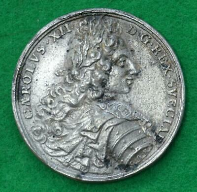 Russia and Sweden - 1700 Battle of Narva cast silver medal -  rare