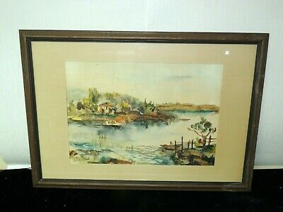 Beautiful Antique Early 20th Century Shraga Weil Watercolor Landscape Painting