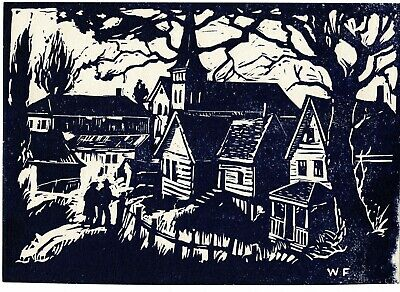 Antique Vintage Will Frates Lino Woodcut Print Old Town c. 1940s  Am CA Artist