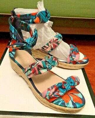 74a5a341b0 NINE WEST Womens Summer Fun Allegro Floral Wedge Sandals Shoes 7M NEW IN BOX