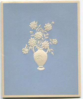 Vintage Flowers Urn Embossed Silhouette Print 1 Persian Siamese Cat Autumn Card