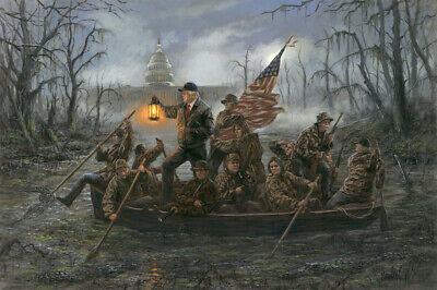 Donald Trump as George Washington Crossing the Swamp/Delaware FUNNY STICKER