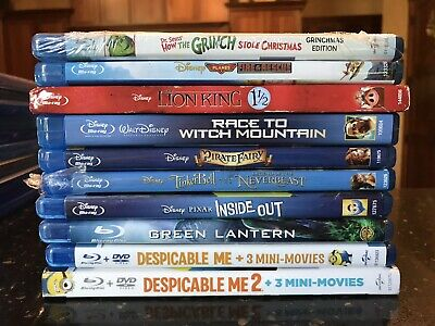 10 Blu-Ray Movie Lot 2 - Disney, Pixar, Other...great For Kids!