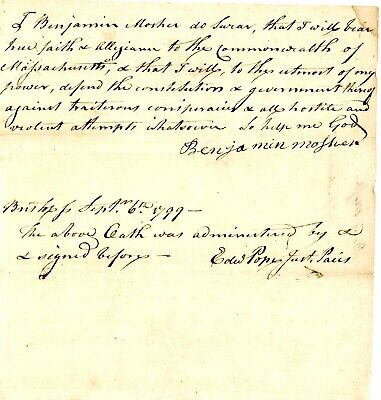 1799 Early American Doc>BENJAMIN MOSHER TAKES OATH TO OPERATE A BUSINESS