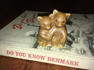 Vintage Knud Basse Figurine Bears From Own Studio Art Pottery Danish Mid Modern