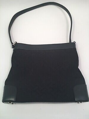 Talbots womens purse black leather and fabric MINT condition 14 in by 11 inches