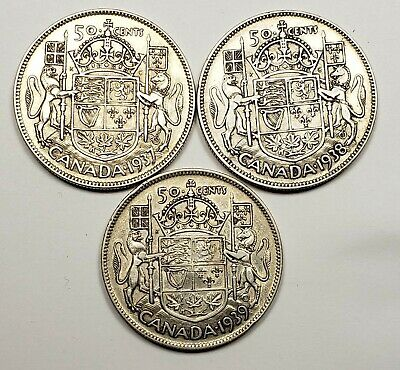 1937 1938 1939 Canada Silver 50 Fifty Cents 3 Different Coin Lot #024