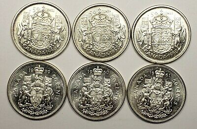 Canada 1956 1957 1958 1959 1960 1961 Silver 50 Fifty Cents 6 Different Coin Lot