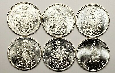 Canada 1962 1963 1964 1965 1966 1967 Silver 50 Fifty Cents 6 Different Coin Lot