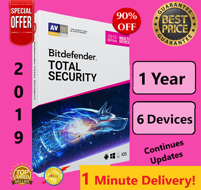 Bitdefender Total Security 2019 | 6 Device - 1 Years | Download | FAST DELIVERY