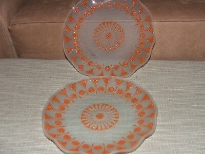 Retro Vintage Frosted Glass Wave Edge Dishes Plates X 2
