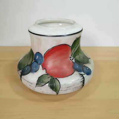 Vintage Hand-painted Hurricane Lamp Glass Shade Apples Plums Fruit Pattern