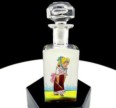 """French Cut Crystal Enamel Victorian Girl Mary Gregory Style 4.5"""" Perfume"""