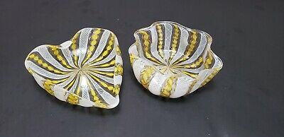 Two Vintage Seguso Murano Laticino Yellow Glass Canes With Aventurine Label