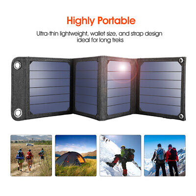 5V 14W Foldable Solar Panel Portable USB Camping Battery Charger For Smartphone