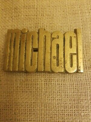 VINTAGE 1978 CUT-OUT NAME **Michael** SOLID BRASS BARON BELT BUCKLE