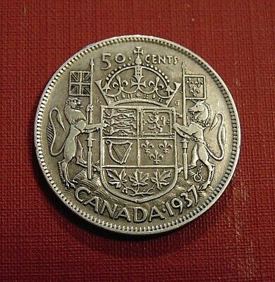 CANADA 1937 50 cents silver half dollar fifty cent piece KING GEORGE VI D