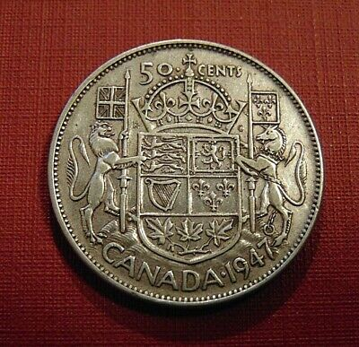 CANADA Canadian 1947 curved 7 silver fifty 50 cent cent piece half dollar coin B