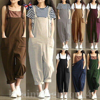 Women's Casual Loose Linen Cotton Jumpsuit Dungarees Playsuit Trousers Overalls