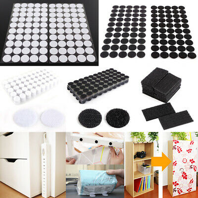 Self Adhesive Hook And Loop Stick on Dots/Blocks - Black or White - 20mm-50mm