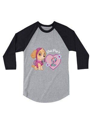 Official Paw Patrol Skye 2nd Birthday 3 4 Sleeve Baseball Jersey Toddler Shirt