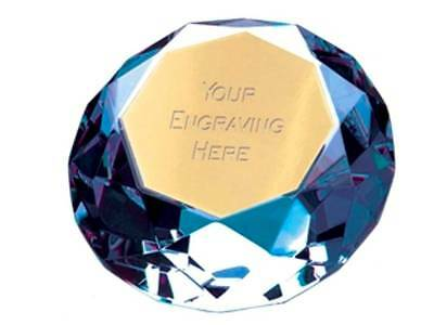 ICE BLUE DIAMOND GLASS paperweight free engraving birthday leaving REDUCED