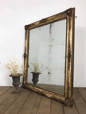 Stunning 19th Century Antique French Gold Gilt Foxed Mirror