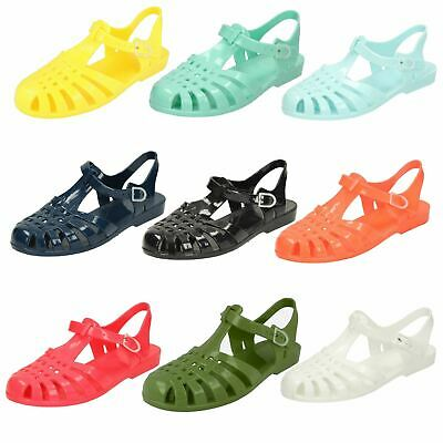 Ladies Pink Synthetic Buckle Casual Summer Jelly Sandals from Spot On F0837