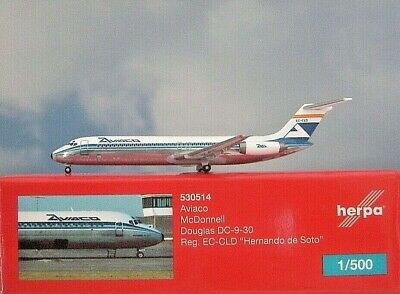 Herpa Wings 1:500 Mc Donnell Douglas DC-9  Aviaco EC-CLD 530514 Modellairport500
