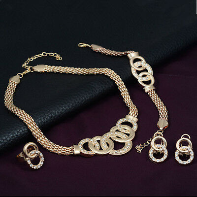 Fashion Crystal Handcuff Necklace Earring Bracelet Circle Cross Jewelry Set
