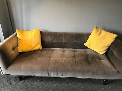 Made.com 3 Seater Connor Sofa Concrete Grey Cotton Velvet Mid Century