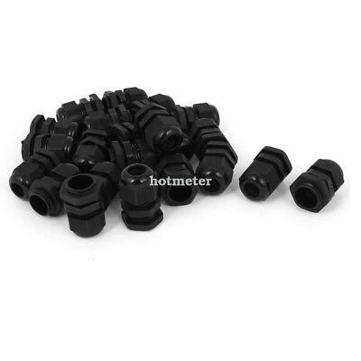 H● 22Pcs PG11 Waterproof Wire Cable Glands Clamp Black Plastic Connector