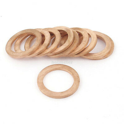 H● 10Pcs 19 mm ID 27 mm OD Copper Flat Washer Ring Gasket Seal Fitting Copper