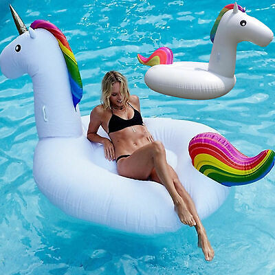 Giant Inflatable Unicorn Water Float Raft Ride On Pool Lounger Beach Toy Gift