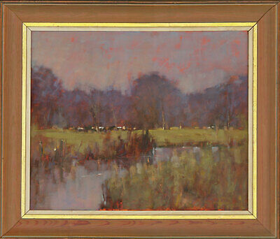 Framed Contemporary Oil - River Landscape with Cows