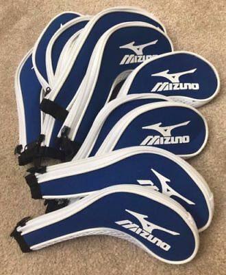 11PCS Blue Mizuno Golf Club Iron Covers HeadCovers Long Zipper High Qualität UK