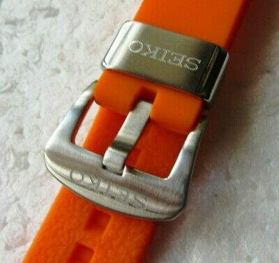 22mm Seiko Soft Silicon Rubber Divers Strap Z-22 Z22 Brushed Stainless & Orange