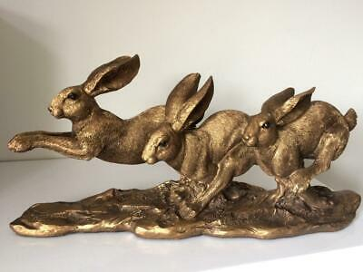 LEONARDO Running Hares Bronze Effect Hare Ornament Figure