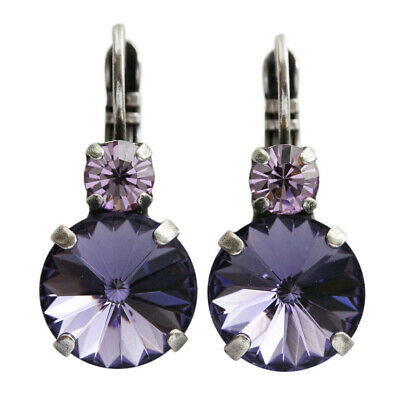 ec7d39cda Mariana Tanzanite Purple Silver Drop Rivoli Round Swarovski Crystal Earrings