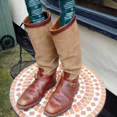 Bespoke Vintage Leather & Canvas Riding, Field Or Shooting Boots