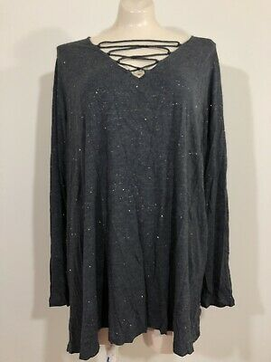 Old Navy Womens 3X Plus Gray Gold Long Sleeve Top VEUC