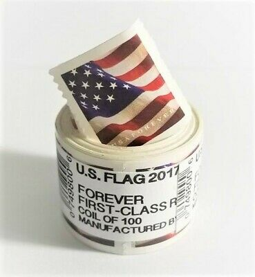 USPS Forever Flag Stamps First Class - 1 Coil / 100 Stamps