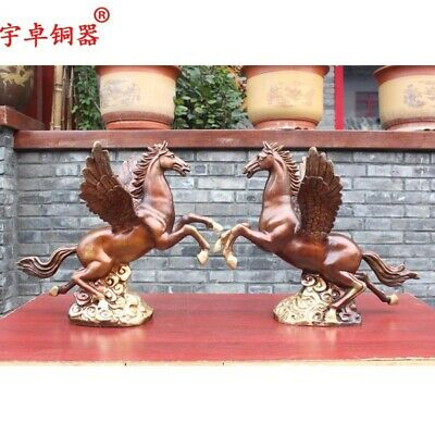 53 cm Pure Bronze Chinese Zodiac Lucky Fengshui Animal Wing fly Horse Statue