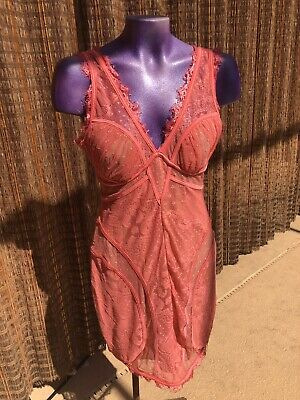 Bebe Peach / Coral Lace Sexy Dress Excellent Condition  Size Large