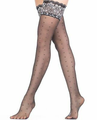 Favorita Shimmery Metallic Patterned Hold Up Stockings 20 Denier by Fiore